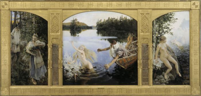 Kolmes maalist koosnev tervik, kus kujutatud noort naist ja vana meest. Kunstnik Akseli Gallen-Kallela eeposest inspireeritud maalid