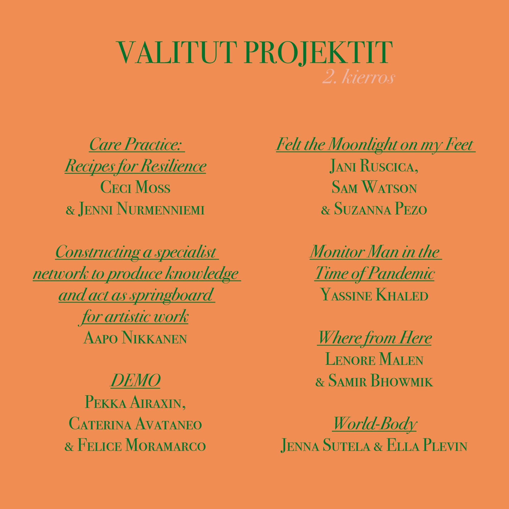 projektide nimekiri