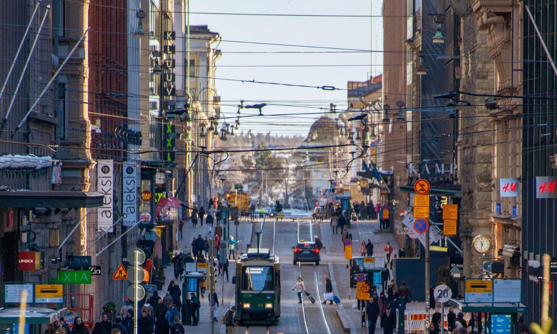 tänavavaade trammiga, Helsingi