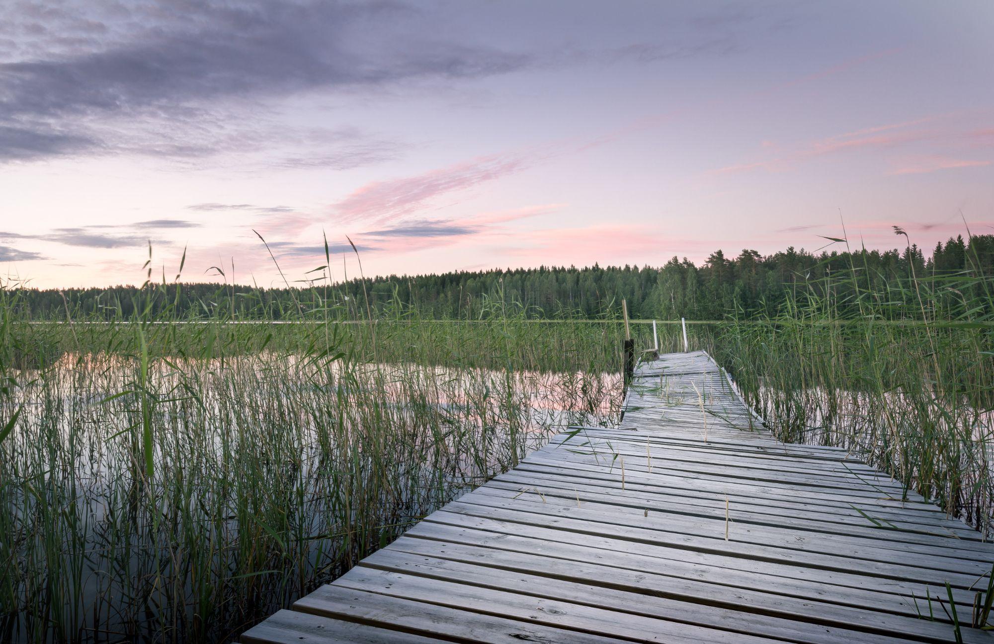 suveõhtu, järv, puidust sild